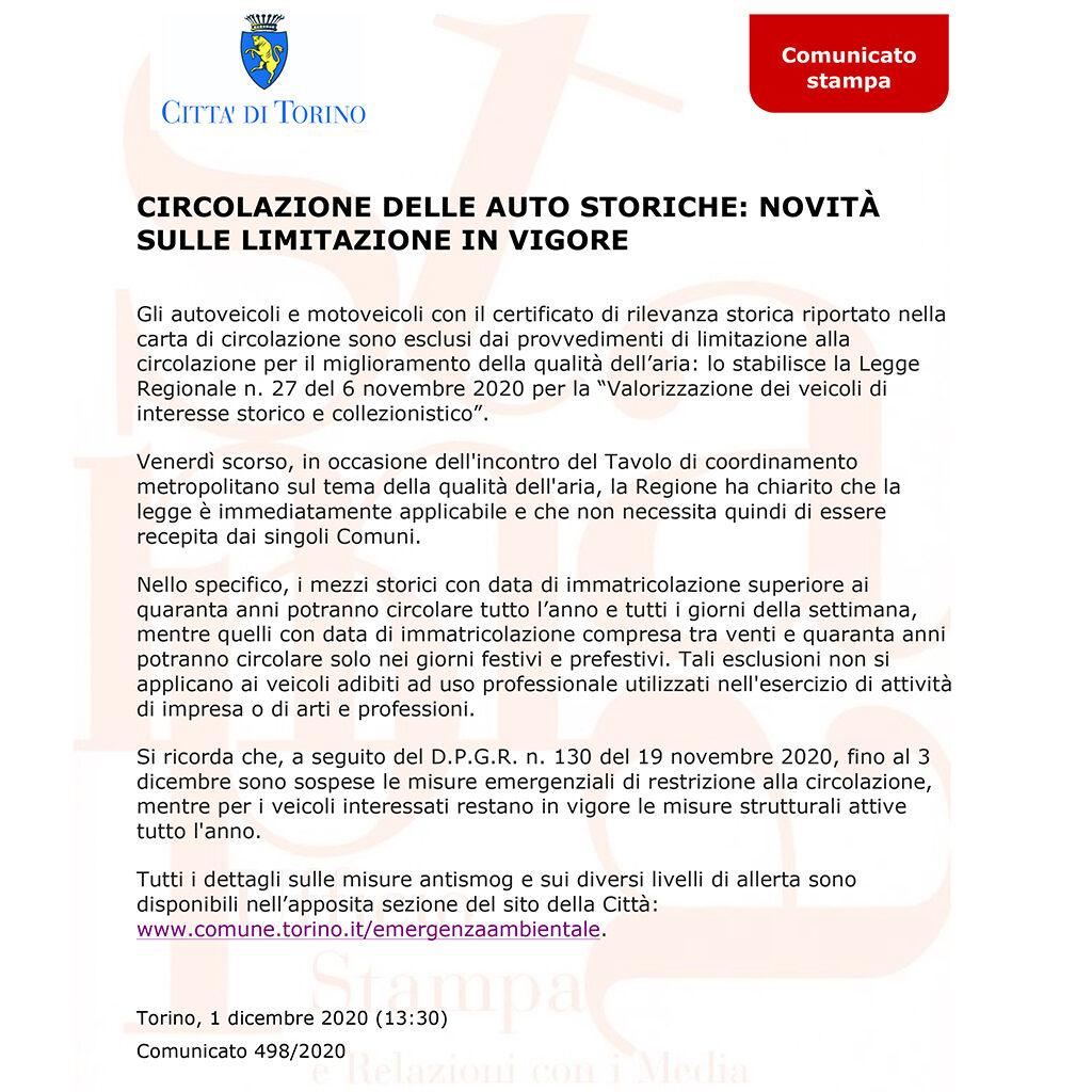 Comunicato Comune di Torino